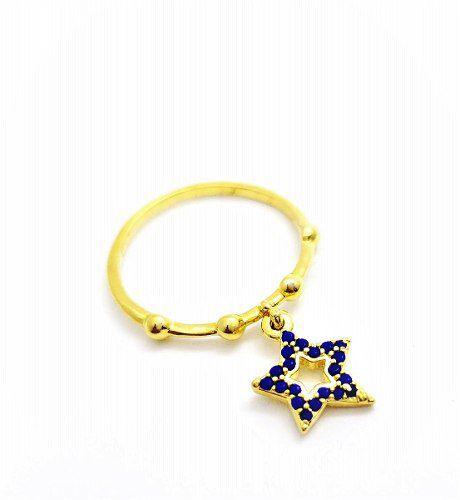 Anel Estrela Zirconias Azul Safira Pendente Banho De Ouro 18k 4175