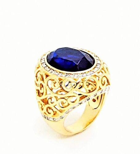 Anel Cristal Azul Safira Arabesco Zirconias Banho Ouro 4174a