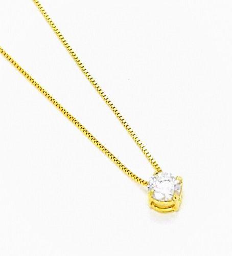 Gargantilha Ponto De Luz Cristal 7mm 45cm Banho Ouro  18k 4162