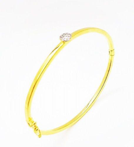 Bracelete Algema Disco Zirconias Banho Ouro 18k  4129