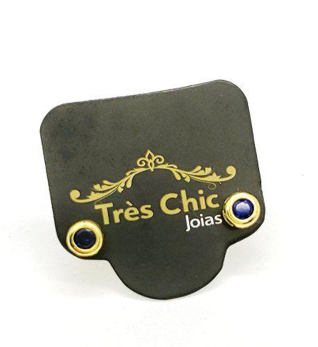 Brincos Botão Cristal Caixa Alta Banho Ouro 18k 4127