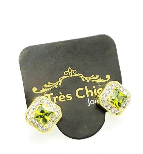 Brincos Cristal Moldura Cravejada De Zirconias Banho Ouro 18k 4126