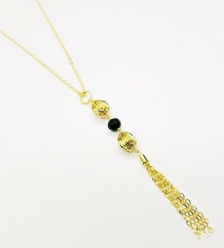 Colar Tassel Com Cristal E Balões 60cm Banho Ouro 18k 4122