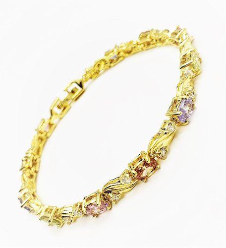 Pulseira Riviera Zirconias Coloridas Banho Ouro 18k 4116