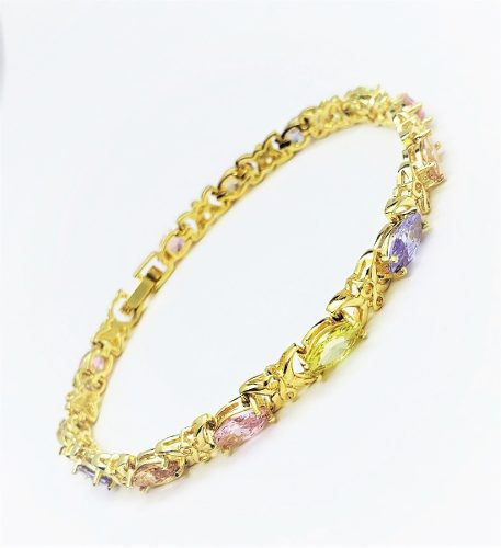 Pulseira Riviera Zirconias Coloridas Banho Ouro 18k 4117