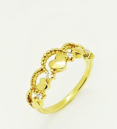 Anel Falange Coroa Com Corações E Zirconias Banho Ouro 18k 4106