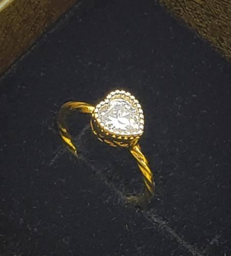Anel Falange Coração De Zirconia Caixa Alta Banho Ouro 4100