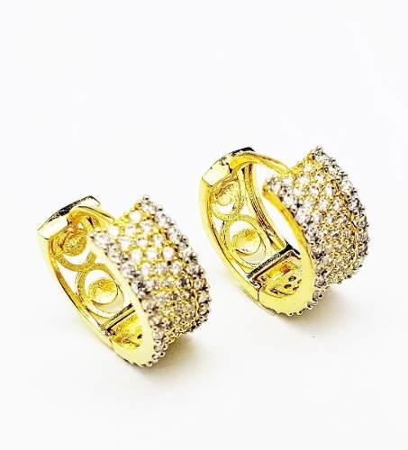 Brincos Argolas Cravejadas Com Zirconias Banho Ouro 4094