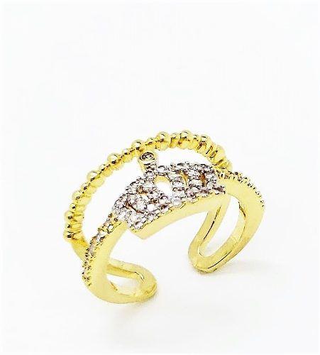 Anel Falange Coroa Com Zirconias Aro Duplo Banho Ouro 4098