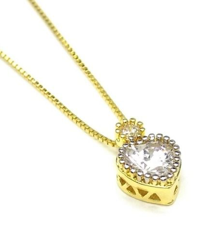 Colar Com Pingente Coração Cravejado De Zirconias Banho Ouro 18k 4085