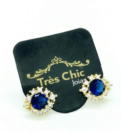 Brincos Cristal Azul Safira E Zirconias Banho Ouro 18k 4081