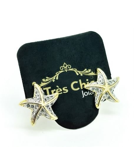 Brincos Estrela Com Zirconias Banho Ouro 18k 4080
