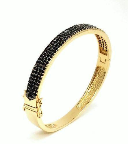 Bracelete Algema Cravação Pavé Zirconias Negras Banho Ouro 18k 4070
