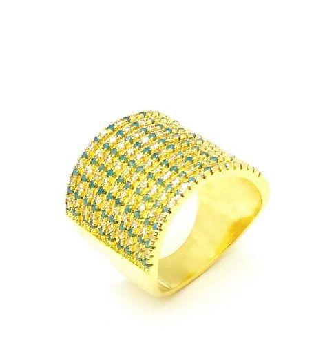 Anel Cravejado Pavê Zirconias Turmalina E Cristal Banho Ouro 18k 4052