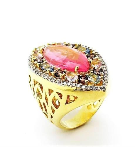 Anel Cristal Navete Esmeralda Rosa E Zirconias Banho Ouro 18k 4049