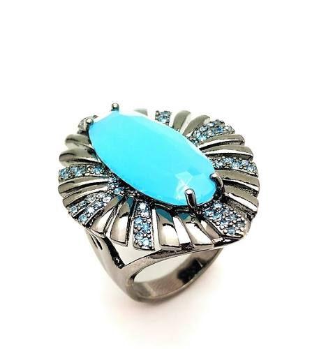 Anel Cristal Airy Blue Com Esplendor Zirconias Turquesa Banho Ródio 4033