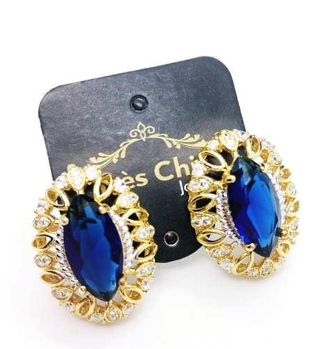 Brincos Cristal Safira Cravejado De  Zirconias Banho Ouro 18k 4002