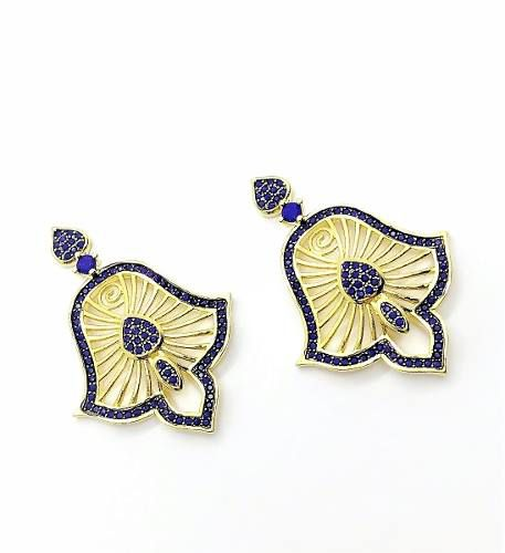 Brincos Azul Klein Folhas Raiadas Zirconias Banho Ouro 4001