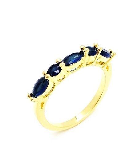 Meia Aliança Zirconias London Blue Banho Ouro 18k 3999