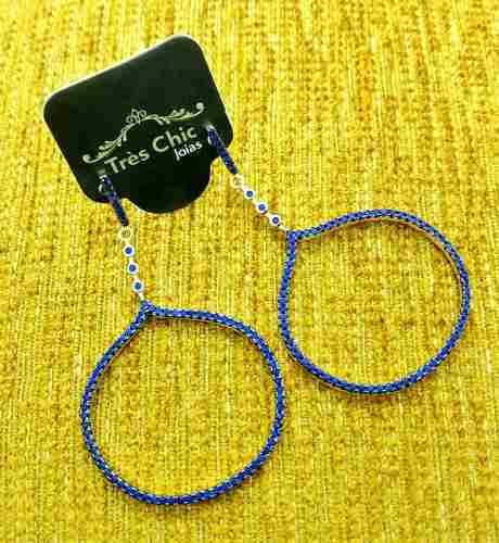 Brincos Argolas Balão Azul Klein Cravejados Zirconias Banho Ouro 18k 3768