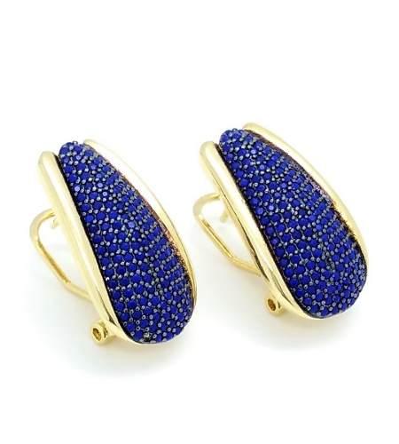 Brincos Cravejados Zirconias Azul Klein Banho Ouro 18k 3765A