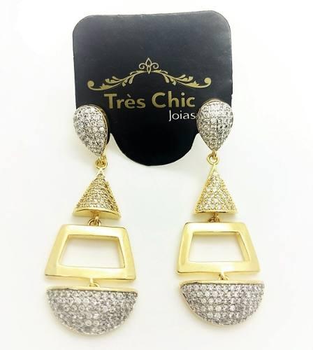 Brincos Cravejados Zirconias Cristal Banho Ouro 18k 3764