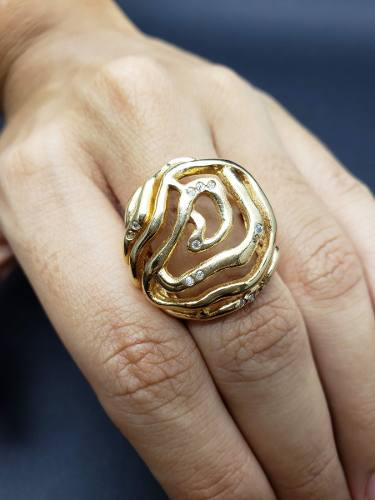 Anel Flor Cravejado De Zirconias Banhado A Ouro 18k 546