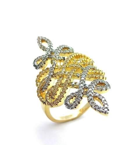 Anel Enlaces Cravejados De Zirconias Banho Ouro 18k 3757