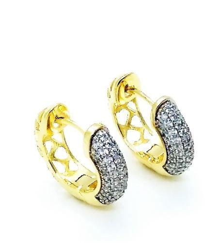 Brincos Argolas Pavé Zirconias Cristal 18mm Banho Ouro 18k 3744