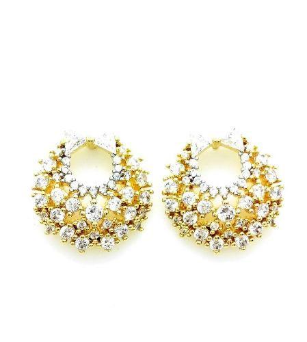 Brincos Laço Microzirconias Cristal Banho Ouro 18k 3741