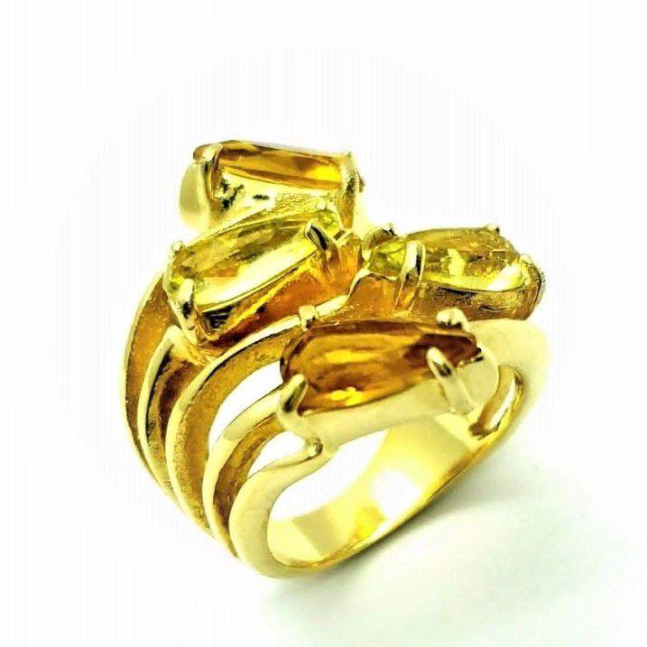 Anel Gotas De Pedras Cristais Ramo Banhado A Ouro 18k 1415