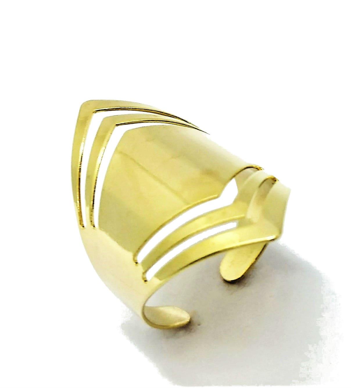 Anel Ajustável Faixas Vazadas Losango Banho Ouro 18k 2472
