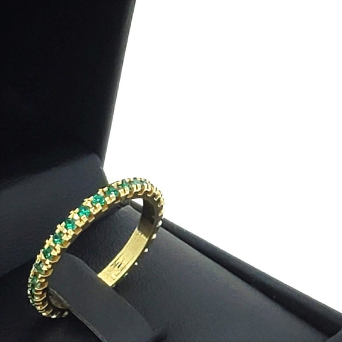 Anel Aliança Aparador Cristal Verde Esmeralda Banho De Ouro 18k 2467A