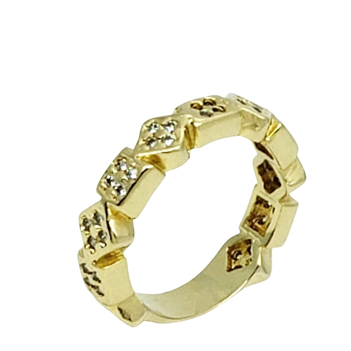 Anel Aliança Aparador Geométricos Cravejado Zirconias Banho De Ouro 18k 2261