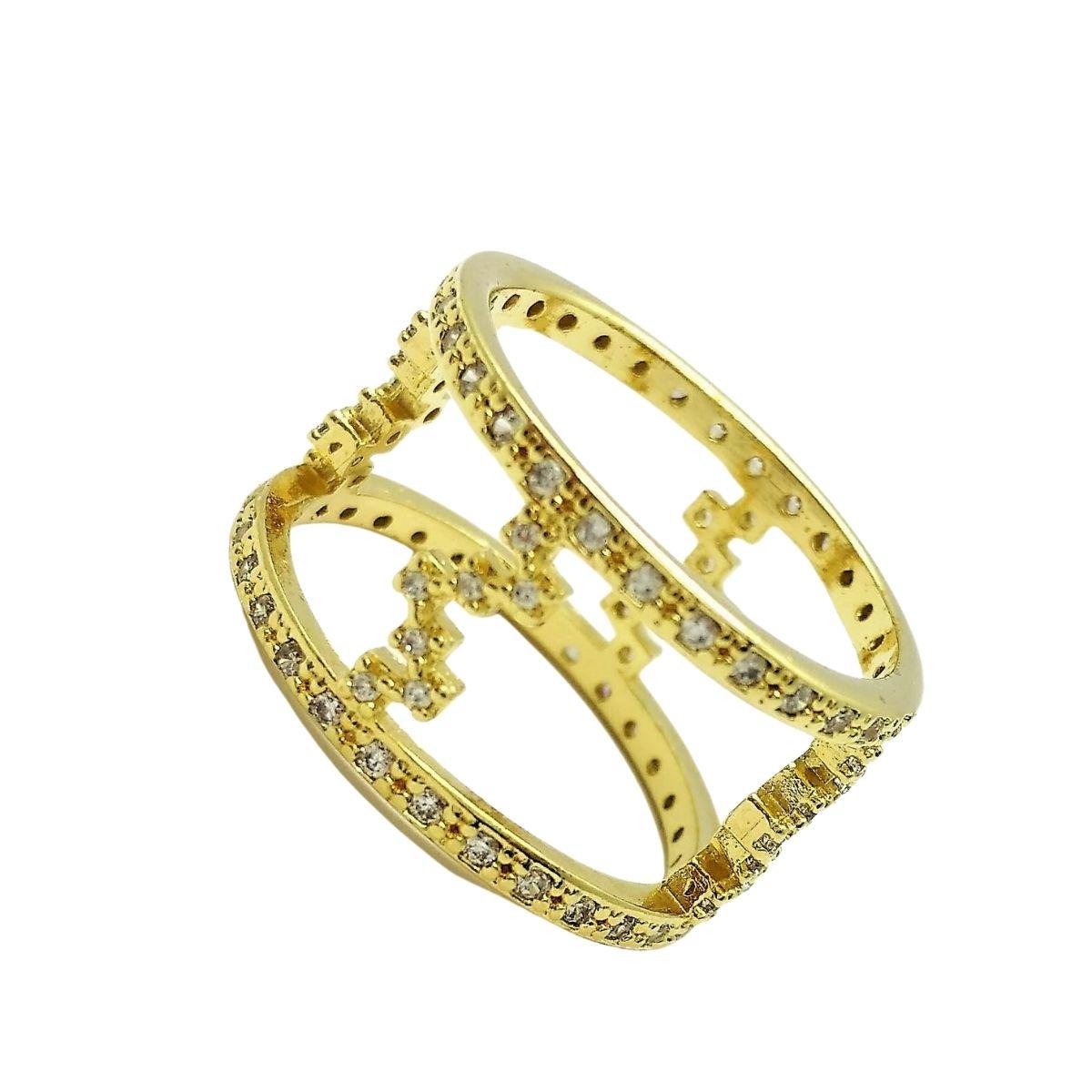 Anel Aro Duplo Cravejado Com Zirconias Banho De Ouro 18k 2216