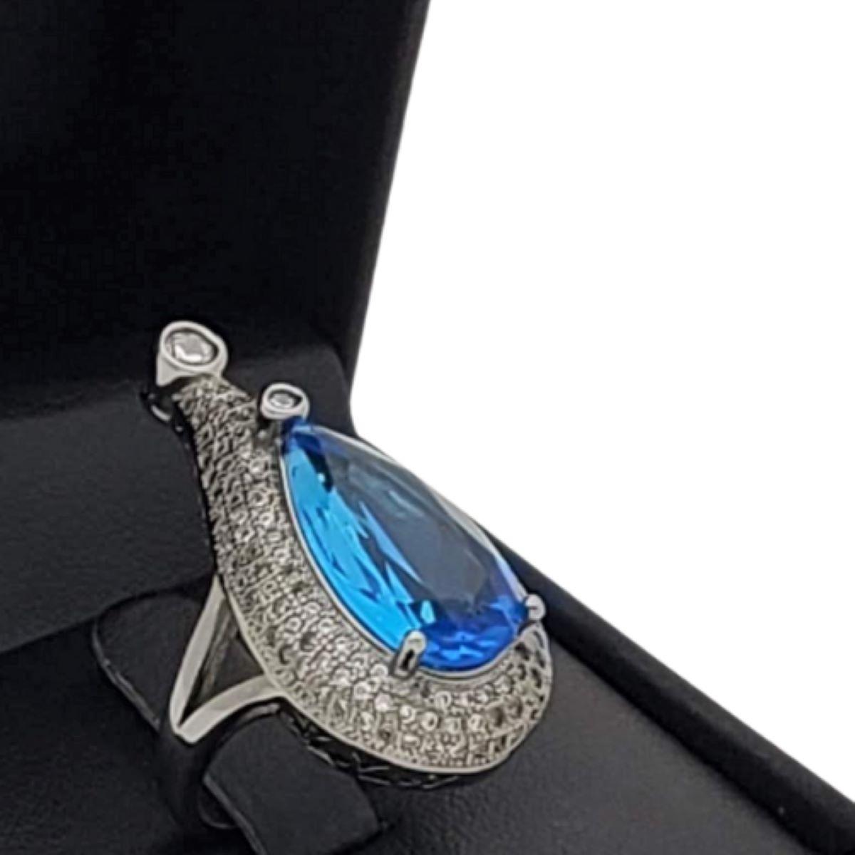 Anel Azul Topázio Cravejado Zirconias Ródio Negro 2396