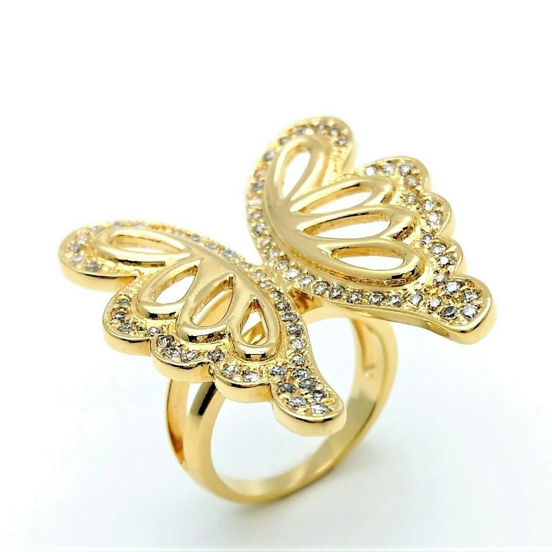 Anel Borboleta Cravejado De Zirconias Banho De Ouro 18k 752