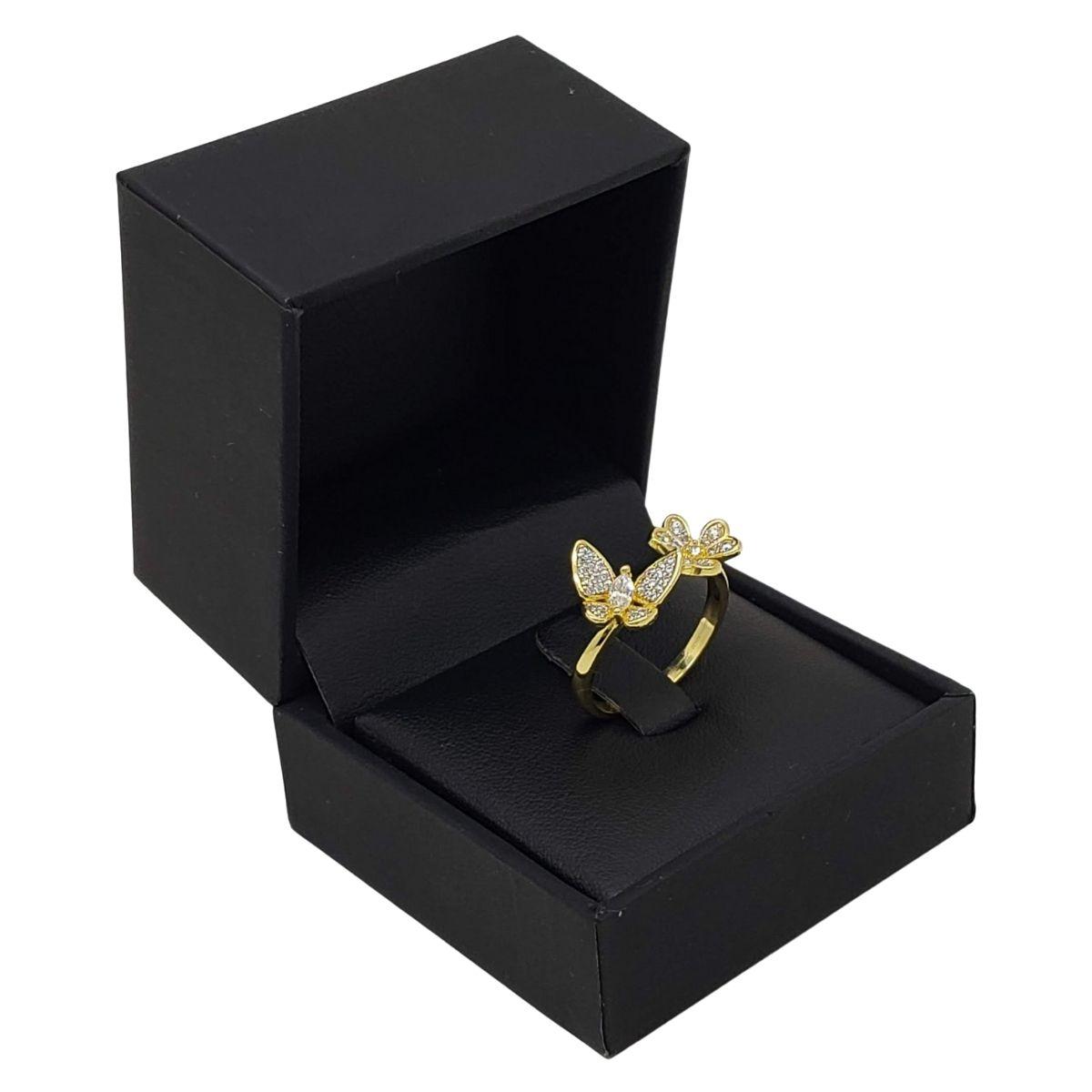 Anel Borboleta E Flor Cravejado Com Zirconias Banho De Ouro 18k 2617