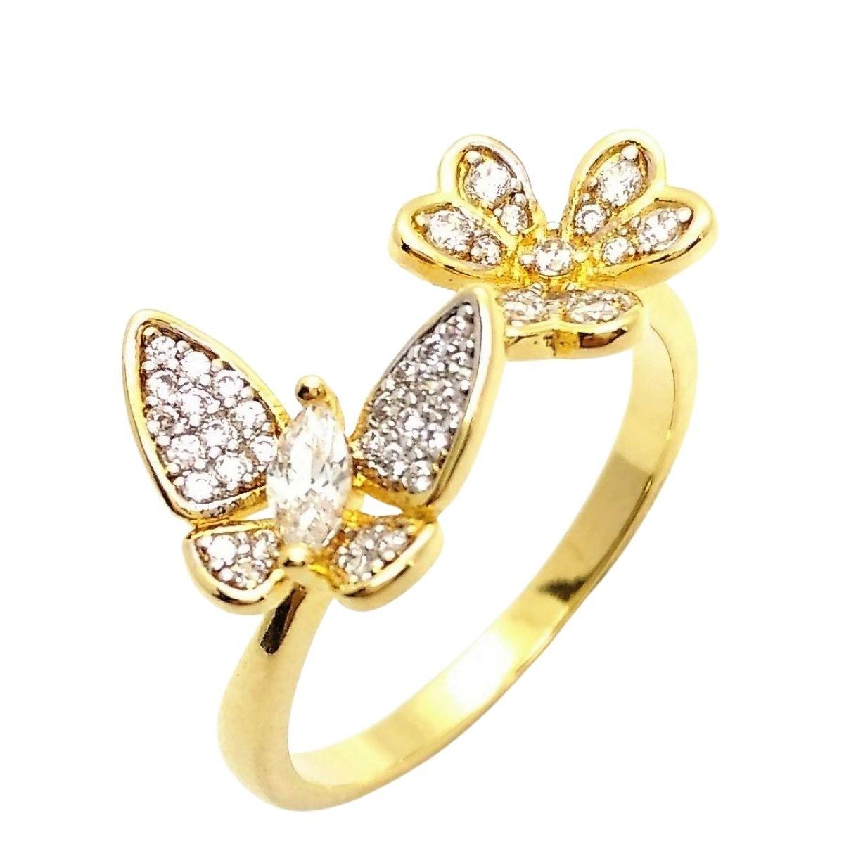 Anel Borboleta E Flor Zirconias Cristal Banho Ouro 18k 2617