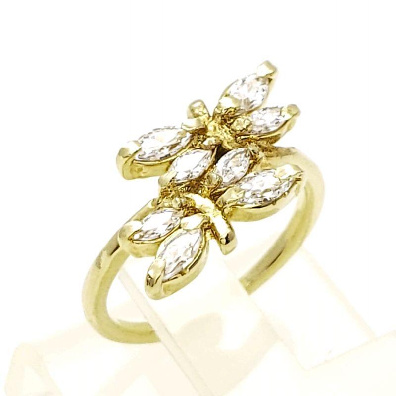 Anel Borboletas Zirconias Cristal Banho De Ouro 18k 3043