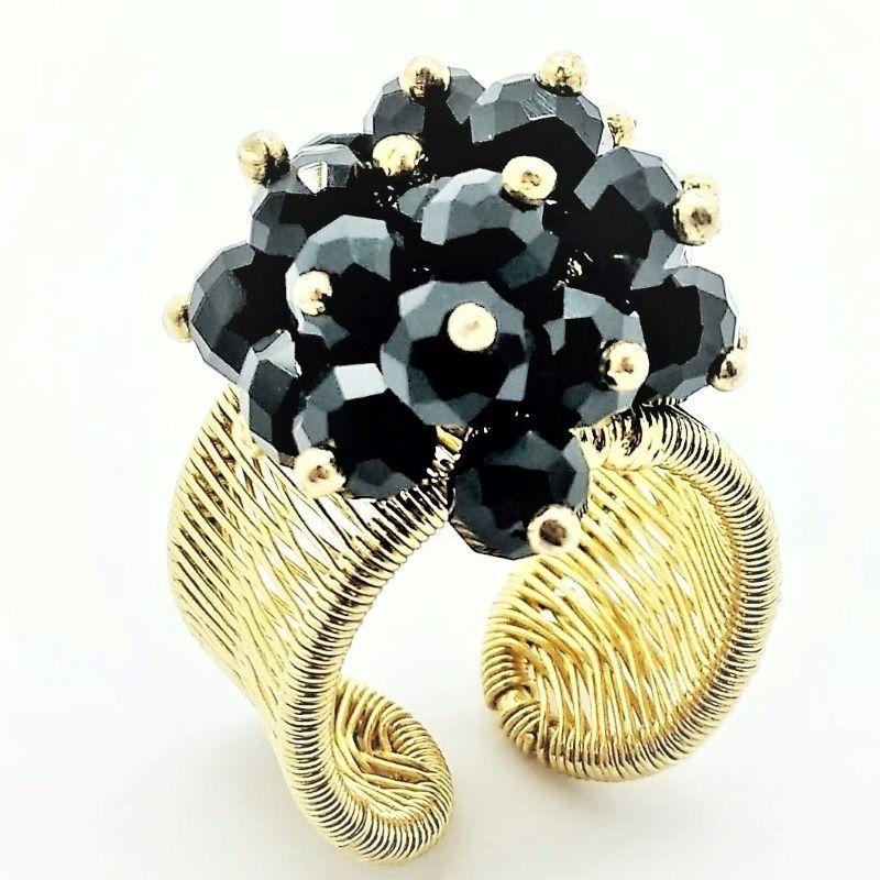 Anel  Bouquet Cristais Negros Ajustável Banho De Ouro 18k 1501