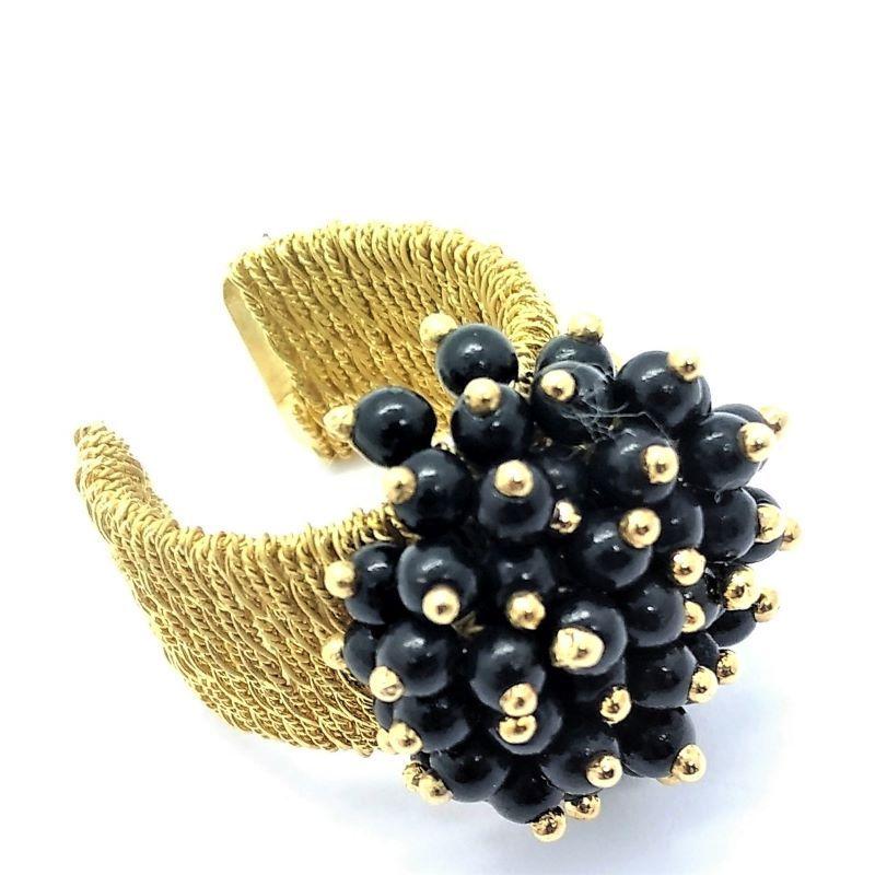 Anel Bouquet Negro E Dourado Ajustável Banho De Ouro 18k 1507