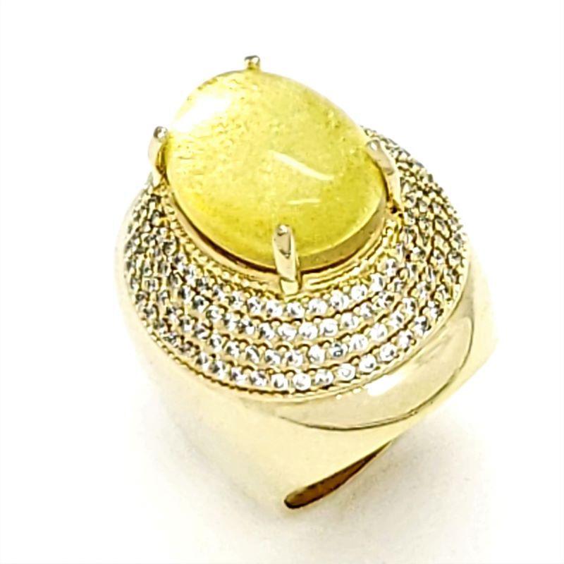 Anel Cabochon Rutilado Cravação De Zirconias Banhados A Ouro 18k 796