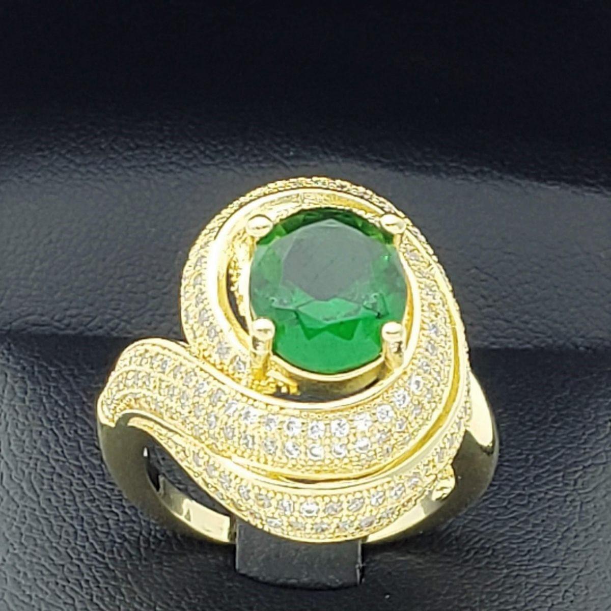Anel Caracol Verde Esmeralda Com Cravejado Pavé Banho De Ouro 18k 2383