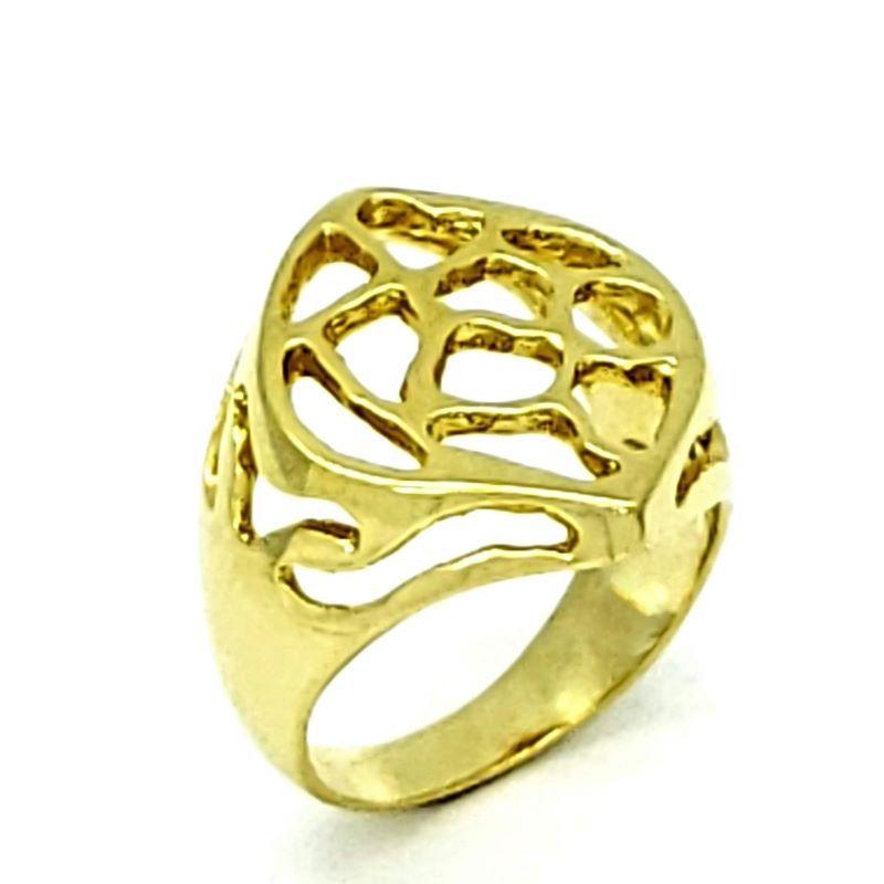Anel Chapa Navete Banhado A Ouro 18k 1173
