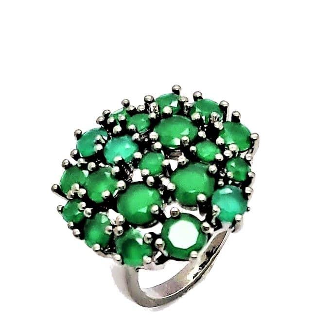 Anel Chuveiro Cristais Verde Esmeralda Banhado 4606