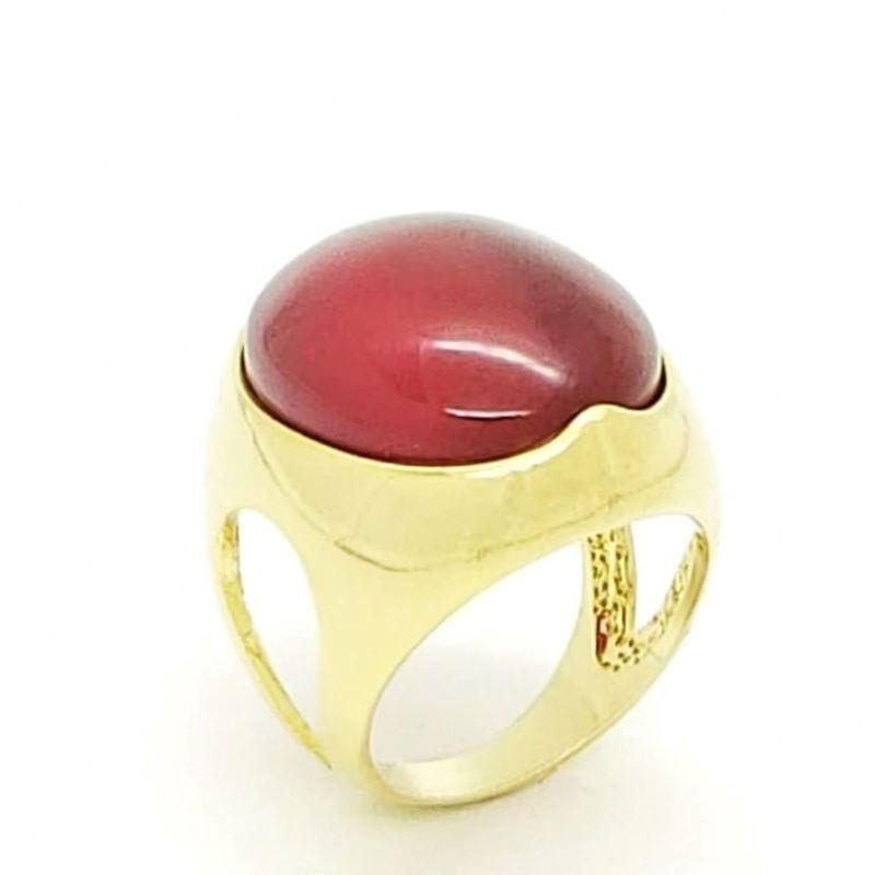 Anel De Pedra Cabochon Vermelho Banho De Ouro 18k 147