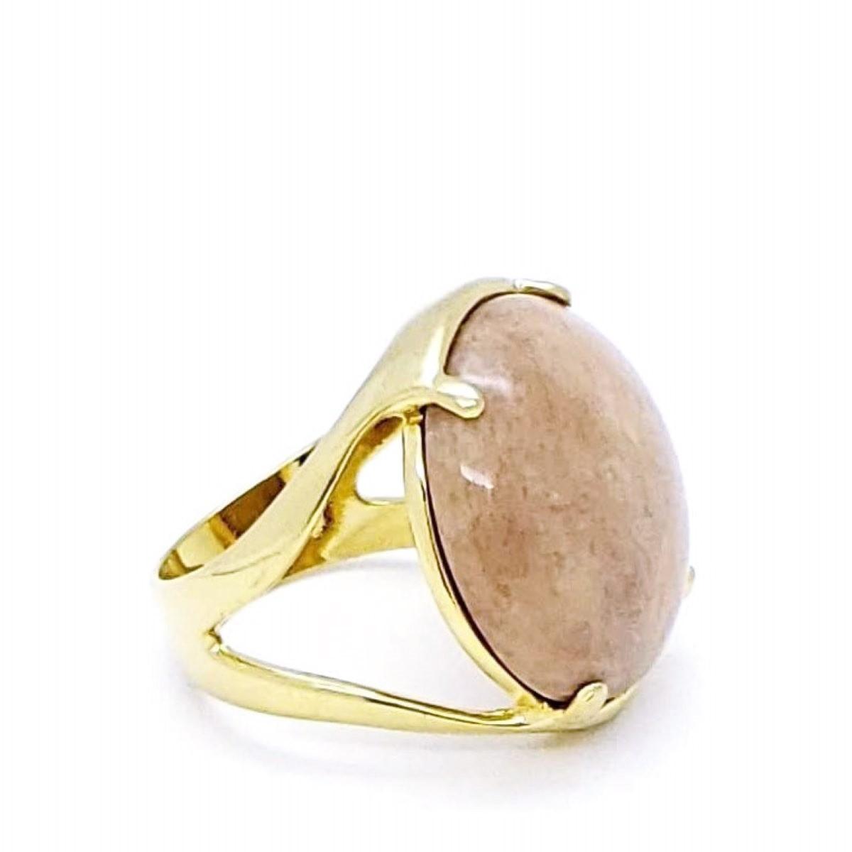 Anel Com Pedra Natural Jaspe Rosa Banho De Ouro 18k 164