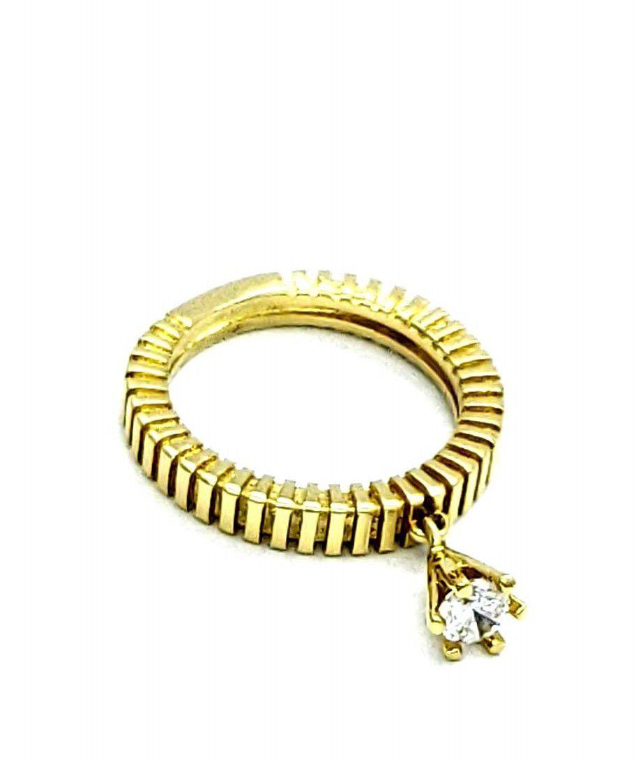 Anel Com Pingente de Zirconia Cristal Banho Ouro 18k 2892
