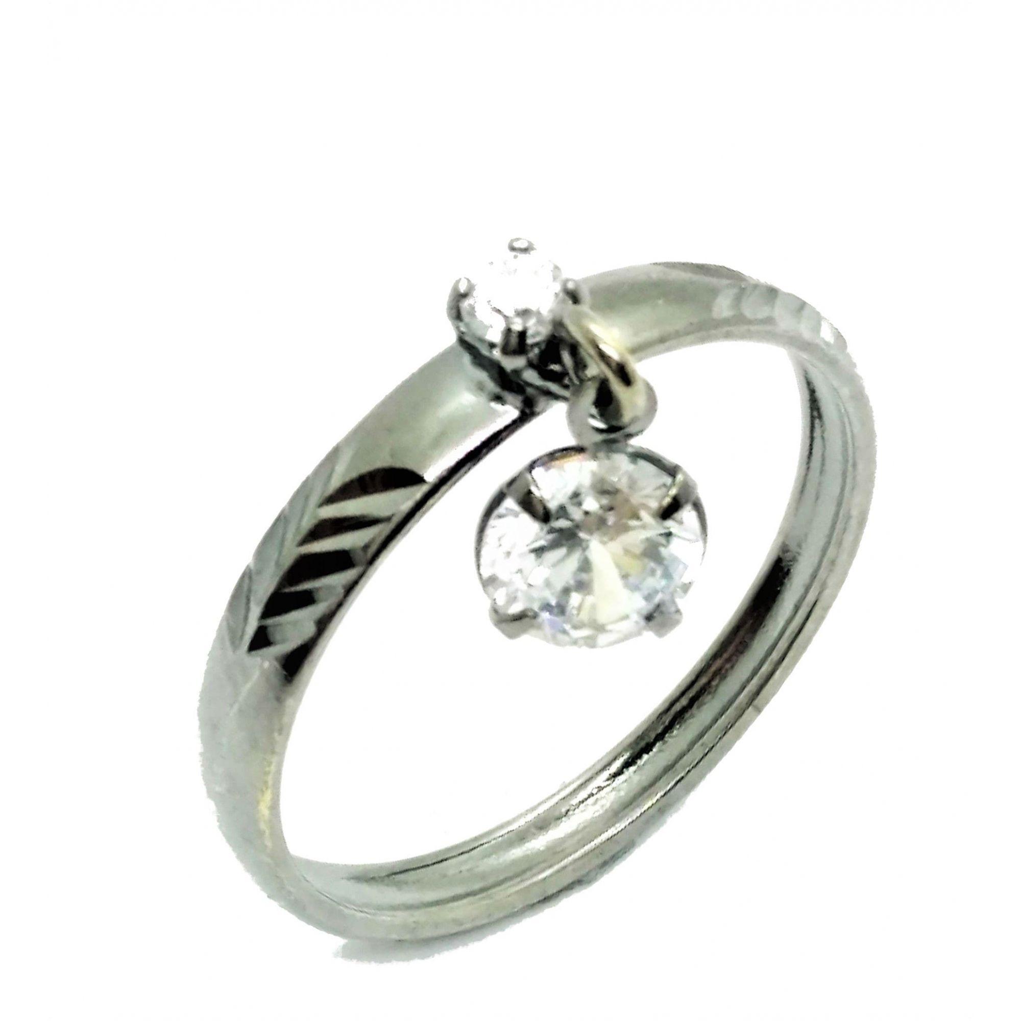Anel Com Pingente Zirconia Cristal Aro Diamantado 2995